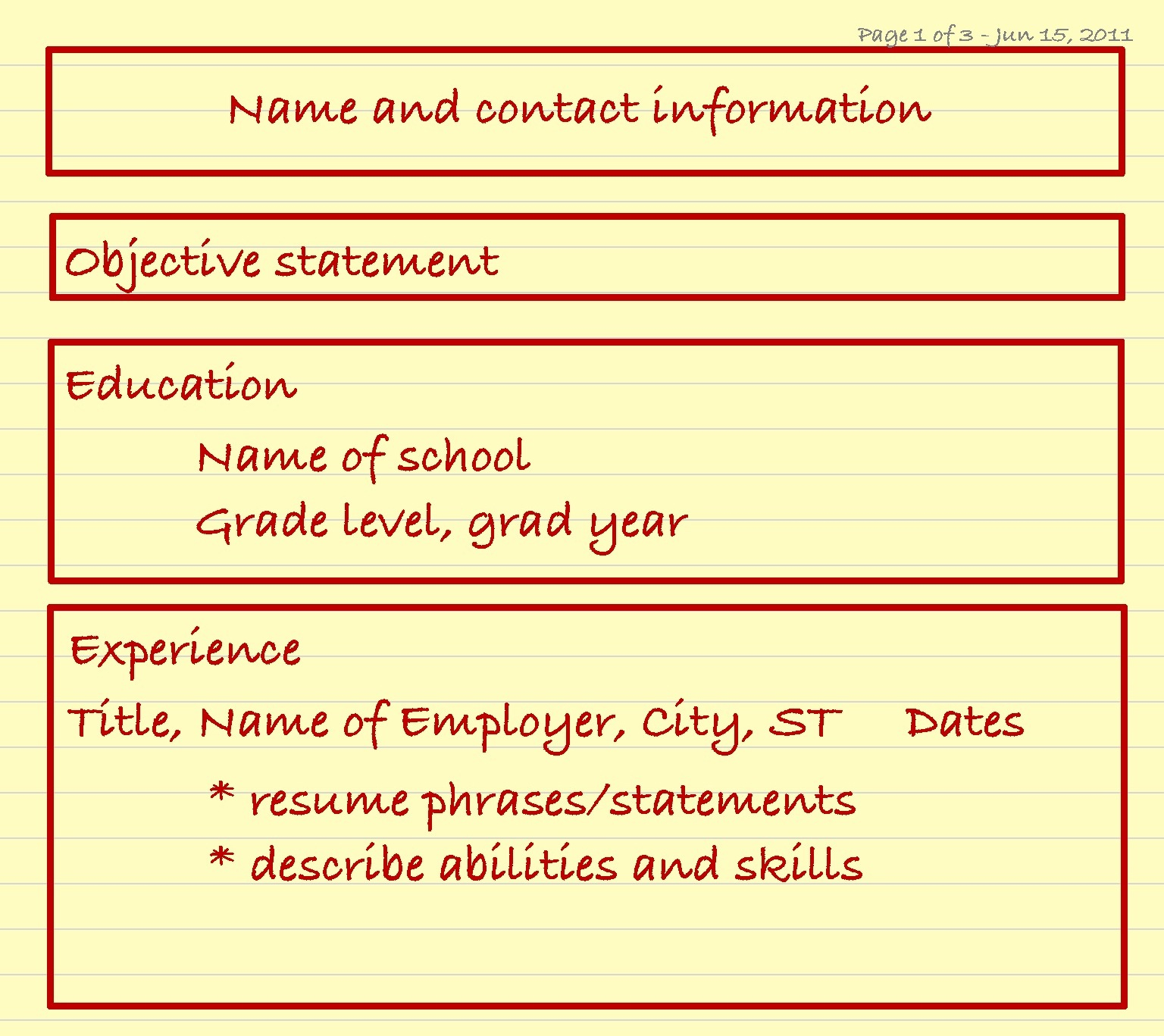 although the chronological resume format